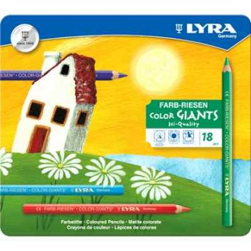LYRA COLOR GIANT SUPER JUMBO COLOURING PENCILS TIN of 18 NATURAL WOOD FINISH